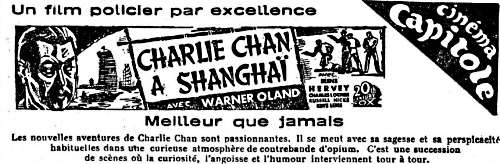Charlie Chan in Shanghai (La Sentinelle, 15. Mai 1936, Schweiz)