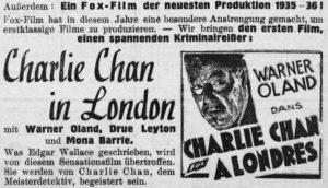 Charlie Chan in London - Tageblatt, Luxemburg 1935
